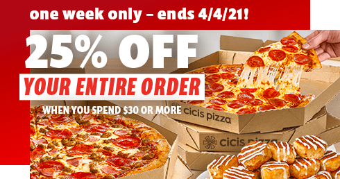 25% off your entire order